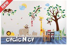 Nursery Wall Stickers with Elephants  - Giraffes, Lion, Birds and Monkeys on the Tree with - PLMG050