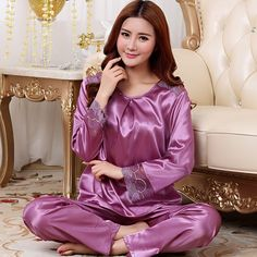 2016 New Ladies Silk Pyjamas Satin Sleepwear Long sleeve Pajamas Set For Women Stitch Charm Nightwear *** You can find out more details at the link of the image.