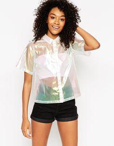 Bild 1 von ASOS – Kastiges, schimmerndes Hemd