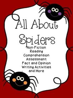 All About Spiders includes a non-fiction reading comprehension, assessments, true/false, fact/opinion and writing activities. Fact And Opinion, Opinion Writing, Literacy Activities, Teaching Resources, False Facts, Easy Art Lessons, Halloween Math, Charlotte's Web, Reading Worksheets