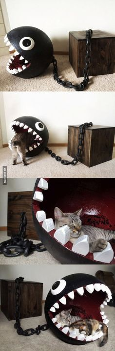 This is super cool... I thought a while about how to DIY... could paper mache form around a ball and then pop/remove it, just would have to be a strong cast. Dollar tree has plastic chains around Halloween... box could be anything... If we ever get a cat, or small dog for that matter!