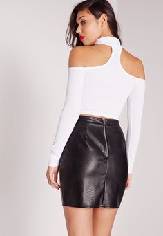 Missguided - Tab Neck Ribbed Crop Top White