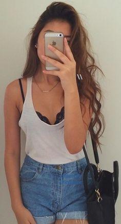 white tank + bralette + jean shorts