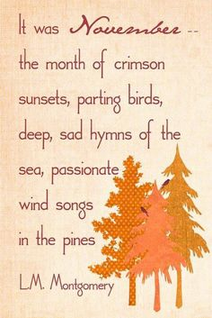 It was November - the month of crimson sunsets, parting birds, deep, sad hymns of the sea, passionate wind songs in the pines. Montgomery - Free prints of Anne of Green Gables quotes! Anne Auf Green Gables, November Quotes, Procter And Gamble, Kindred Spirits, Months In A Year, Book Quotes, Literature Quotes, Reading Quotes, Quotes Quotes