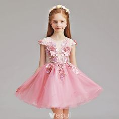 a52c221b5a9 Chic   Beautiful Candy Pink Flower Girl Dresses 2019 A-Line   Princess  Scoop Neck Cap Sleeves Appliques Flower Pearl Short Ruffle Wedding Party  Dresses