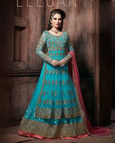 Sky blue double flare anarkali suit with zari and resham embroidery all over   1. Sky blue poly georgette embroidered anarkali suit2. Golden zari sequins and resham embroidery on yoke and sleeves with golden embroidered double flare3. Comes with matching santoon bottom and chiffon dupatta4. Can be stitched upto size 42 inches