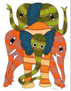 Indian Gond art via FolkPaintingsIndia Elephant Family, Elephant Art, Tribal Community, Henna Body Art, Madhubani Art, Indian Folk Art, Madhubani Painting, India Art, Traditional Paintings