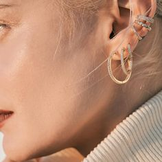 Fast track to the perfect Ear Story: a graduated look Add one or more ear cuffs to complete the look Tap to shop or #linkinbio #GAjewelry #GAEarStories #EarStories #JewelryStories