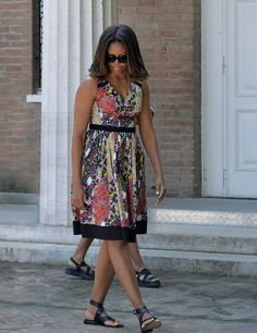 First Lady Michelle Obama in a floral summer dress