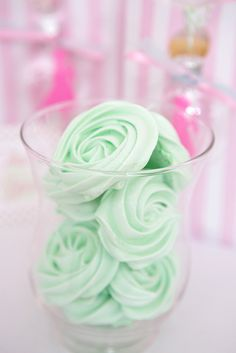 Mint green meringues at a Fairy Princess party!  See more party ideas at CatchMyParty.com!  #partyideas #christmas