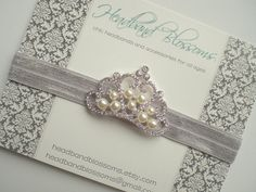 Silver Pearl Rhinestone Crown Headband  by HeadbandBlossoms