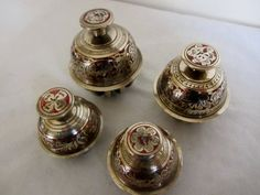 Antique Elephant Bells | ... GRADUATED ANTIQUE BRASS INDIAN ELEPHANT BUDDHIST TIGER CLAW BELLS
