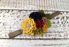 Осенняя цветы повязка - Шерсть Войлок цветы повязка - Войлок Цветок Брошь Pin - День благодарения повязка - Фото Опора