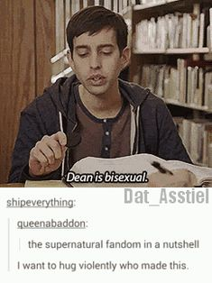 Okay dying with laughter over here!<< same, personally I'm a proponent of Dean being bisexual because I think that would be awesome to share that trait with someone I look up to.