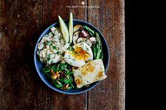 Greens, halloumi and egg