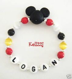 NEW Child/Baby Personalized Handmade FIMO Mickey Mouse Name Bracelet. $3.30, via Etsy.