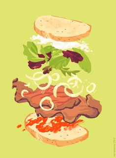 Kali Eats! –more (exploded food) images @ http://www.juxtapoz.com/Illustration/kali-eats –#Illustration #Food