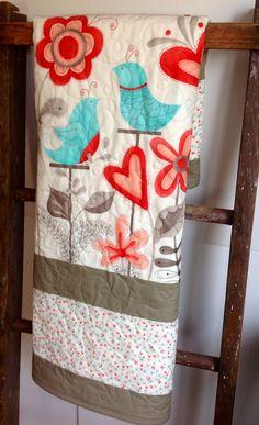Baby Girl Quilt, Modern, Cottage Chic Quilt, Blue Birds, Flirt, Moda, Red, Aqua, Cream, Flowers, Crib Quilt, Nursery Quilt, Baby Bedding on Etsy, $125.00