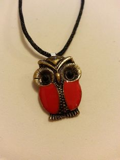 Child's Red Owl Pendant on a Black Cord by MadeByMargNecklaces, $2.00