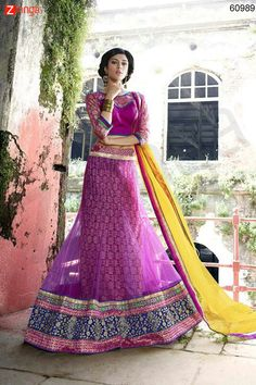 Women's Pretty A Line Lehenga Style in Lavender Color. Message/call/WhatsApp at +91-9246261661 or Visit www.zinnga.com