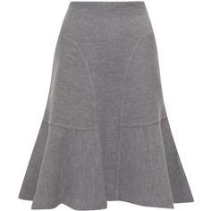 Issa Grey Chelsea Fluted Hem Wool Felt Skirt ($450) ❤ liked on Polyvore featuring skirts, grey high waisted skirt, flared skirt, issa, gray wool skirt and high waisted skirts
