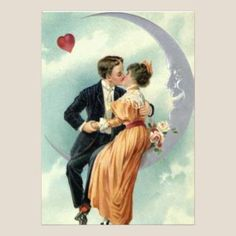 Vintage Victorian Couple Kiss On A Crescent Moon