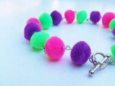 Pom Pom Textile Bracelet - Neon Pink Neon Purple Green Bracelet - PomPom Textile Bracelet - Soft Fuzzy Light Weight Bracelet Jewelry by OneUglyUnicorn for $6.00