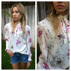 Vintage 80s pussy bow tie blouse / floral / by CrystalsCloset74, $16.00