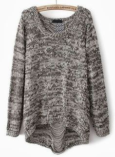 Grey long sleeve ripped knit loose sweater... click on pic for more. Go to a Goodwill! There are tons of sweaters coming in! I have to look at my pinterest list to remind me of the outfits I can put together.