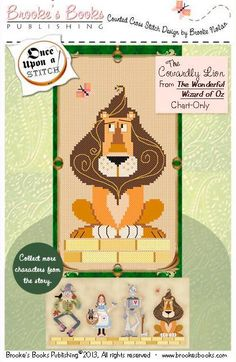 PDF counted cross stitch pattern Wizard of Oz  Cowardly Lion from Brooke's Books at www.thecottageneedle.com
