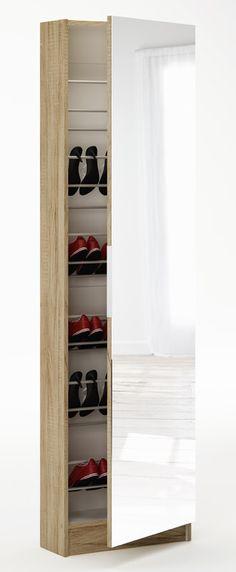 Home Source - Tall Shoe Hallway Cabinet Mirrored Oak Glass Front Shoe Storage Shoe Storage Tall, Shoe Storage Unit, Shoe Storage Cabinet, Hanging Storage, Hallway Cabinet, Entryway Shelf, Armoire, Cheap Closet, Home Organisation