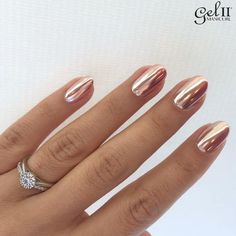 Rose gold metallic nails
