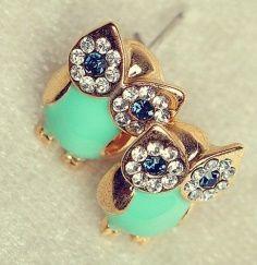 Cute owl studs #turquoise #owls #earrings