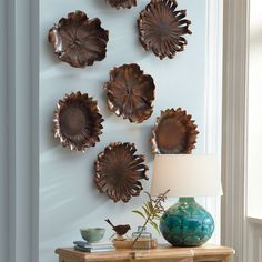 Set of Three Bronze Flower Wall Decor - Grandin Road