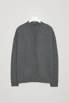 COS image 12 of Relaxed cashmere cardigan  in Dark Grey