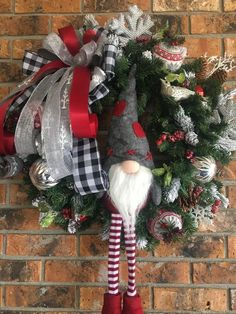 Excited to share this item from my shop: Christmas Gnome Wreath, Christmas Wreath, Gnome Wreath, Rustic Christmas Blue Christmas Decor, Christmas Door Wreaths, Christmas Door Decorations, Christmas Gnome, Country Christmas, Holiday Wreaths, Christmas Ornaments, Rustic Christmas Crafts, Christmas Music