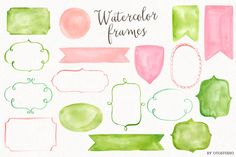 Watercolor Frames & Ribbons ~ Illustrations on Creative Market