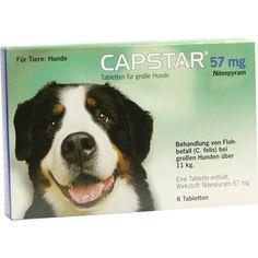 CAPSTAR 57 mg Tabletten f.große Hunde:   Packungsinhalt: 6 St Tabletten PZN: 01280763 Hersteller: Elanco Deutschland GmbH Preis: 18,08…