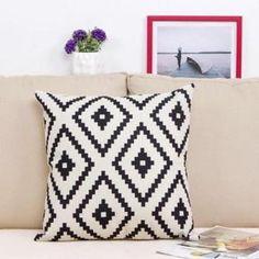 Yonger Housse de Coussin coton Taie d'oreiller 45x45 Géométrique noir et blanc…