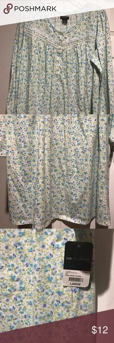 """Earth angels ladies nightgownSize LargeNEW 65% Cotton & 35% Polyester-Size L-35"""" from top of shoulder to bottom hem-23"""" across laying flat-cute and comfy-NEW with tags attached Earth Angels Intimates & Sleepwear Pajamas"""