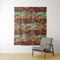 Brown Aqua Turquoise Green Geode Marble Pattern Tapestry - chic design idea diy elegant beautiful stylish modern exclusive trendy