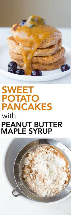 Sweet Potato Pancakes with Peanut Butter Maple Syrup: These gluten free and vegan pancakes are ultra fluffy and tender! Made from healthy, whole food ingredients, these pancakes are the perfect breakfast or brunch!    fooduzzi.com recipe