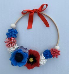Excited to share this item from my #etsy shop: Red blue white wreath, felt flower wreath, patriotic decor Felt Flower Wreaths, Felt Flowers, White Wreath, Patriotic Decorations, Red White Blue, Crochet Necklace, Etsy Shop, Unique Jewelry, Handmade Gifts
