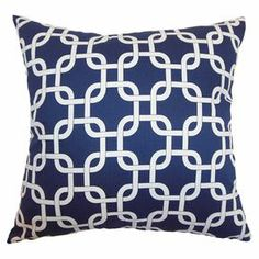 "Cotton pillow with a links motif.  Product: PillowConstruction Material: Cotton cover and high-fiber polyester fillColor: BlueFeatures:  Insert includedHidden zipper closureMade in the USA Dimensions: 18"" x 18"" Cleaning and Care: Spot clean"