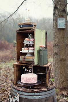 maybe instead of books--we have pictures of Nate and I or our families...Creative Dessert Displays Wedding Cakes Photos on WeddingWire