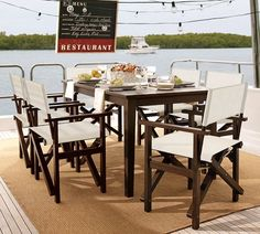 Chesapeake Rectangular Fixed Dining Table  Director's Chair Set   Pottery Barn