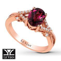d563e4a393df LeVian Garnet Ring 1 15 ct tw Diamonds 14K Strawberry Gold