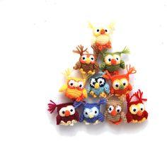 Items similar to crochet tiny owl, little amigurumi hanging decor stuffed small owl favor nursery ornament colorful rainbow decorative birds tree decoration on Etsy Handmade Toys, Etsy Handmade, Small Owl, Bird Tree, Tree Decorations, Nursery, Crafts For Kids, Diy, Crafty