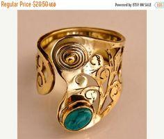 IN vendita 15% di sconto in ottone regolabile e turchese anello - tribali gioielli - gioielli etnici - nativi americani gioielli - gioielli indiani - pietre dure