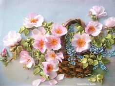 Pink flowers in a basket #ribbonEmbroidery